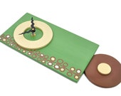 Green Art Clock with Circle Designs - handcrafted pendulum wall clock by infinity arts - 2 Sizes
