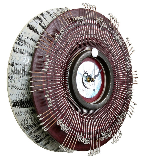 Recycled Metal Art Clock - Round Wall Clock with Etched CD Center - Ready To Ship