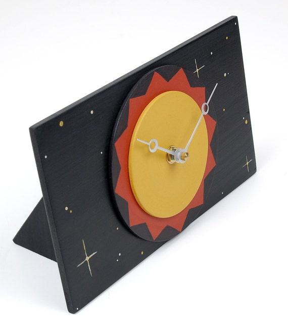 Clearance Sale - Stars and Sunshine Desk Clock - Black Art Clock - Ready to Ship