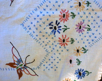 Vintage Butterflies and Flowers Hand Stitched Runner Dish Towel Cottage Chic OOAK Lavender Pink Yellow Blue epsteam