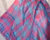 Pastel Plaid Silk Scarf -- Hand Painted