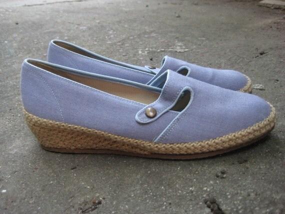 Cute Vintage 70s 80s Denim Espadrilles Shoes Size 7