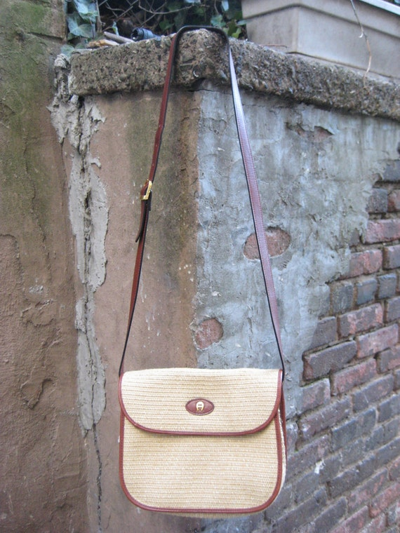 SUMMER SALE...Nice Vintage 80s 90s Etienne Aigner Straw Leather Shoulder Bag