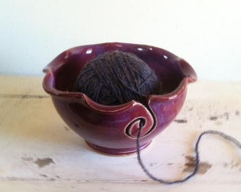 pottery yarn bowl - Knitting bowl - yarn organizer - craft supplies -  knitting and crochet
