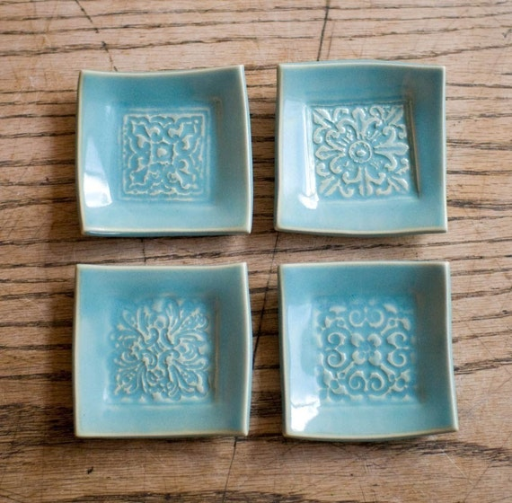 wee little squares--set of 4 tiny plates made to order