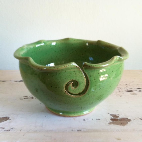 Yarn Bowl, knitting bowl, green, Lime green, Grass Green, seen in Knit Simple magazine