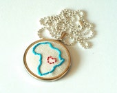 Embroidered Necklace-Heart for Africa by littlebirdcreations