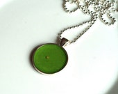 GRASS GREEN Mustard Seed Pendant Necklace by ChirpHandmade