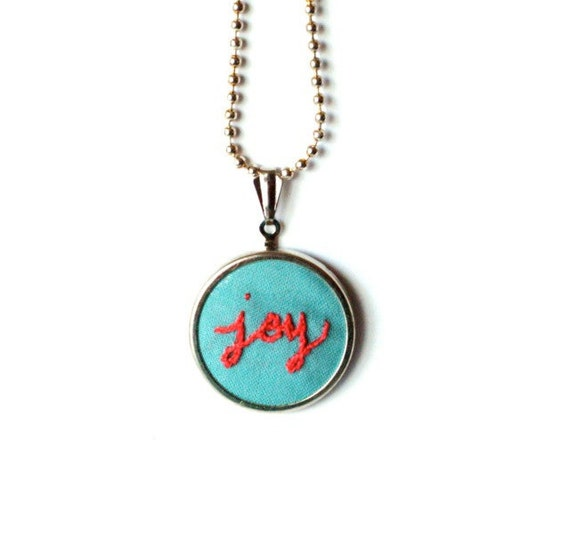 JOY hand embroidered pendant necklace in coral and blue