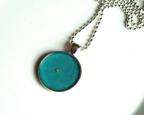 Mustard Seed Pendant Necklace in TEAL by ChirpHandmade