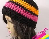 Skullcap Beanie Crochet Hat in Orange Pink and Black