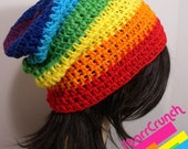 Slouchy Beanie Crochet Hat in Chakra Rainbow Stripes