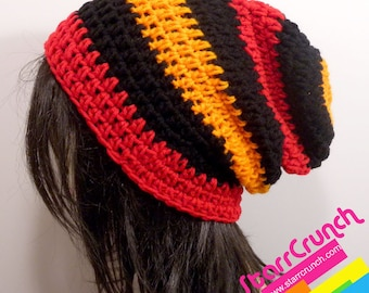 Slouchy Beanie Crochet Hat in Red Orange and Black