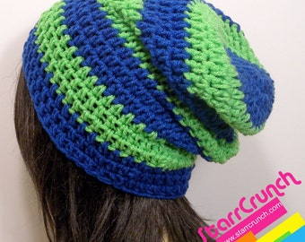 Slouchy Beanie Crochet Hat in Cobalt and Lime
