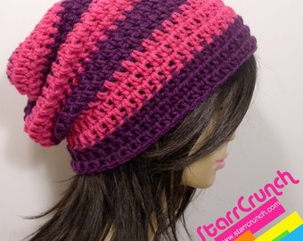 Slouchy Beanie Crochet Hat in Pink and Purple