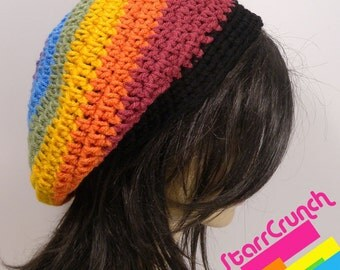 Slouchy Beret Tam Crochet Hat in Muted Rainbow Stripes