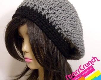 Slouchy Beret Tam Crochet Hat in Heather Grey