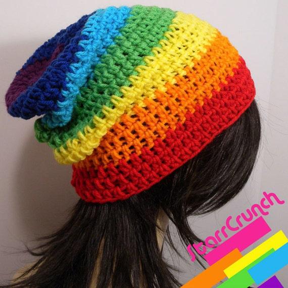 Slouchy Beanie Crochet Hat in Chakra Rainbow Stripes