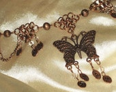Ethereal Butterfly - Antique Copper Chain Maille Choker/Necklace