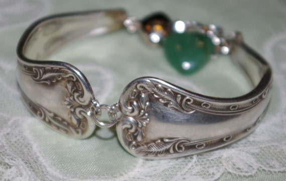 Spoon Bracelet with Antique Sterling Plated Flatware USA Made Magnetic Clasp