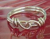 Funky, einzigartig, Liebe Knoten 925er Silber Ring