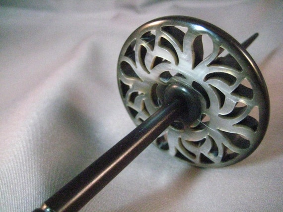 ITALIAN RESIN IRIDESCENT GRAY OPENWORK   - Low/bottom Whorl Drop Spindle - Sterling Silver Hook