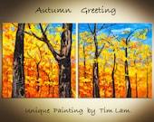 Original 2 square panels palette knife impasto texture abtract Golden Autumn Landscape modern acrylic painting by tim lam  48x24