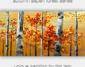 """Original Large modern impasto textured tree art abstract acrylic 48"""" canvas Gold Autumn landscape painting by tim lam"""