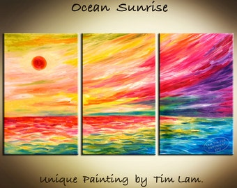 Abstract Fiery Seascape Sunrise HUGE contemporary ART Original  Oil Painting 63x30