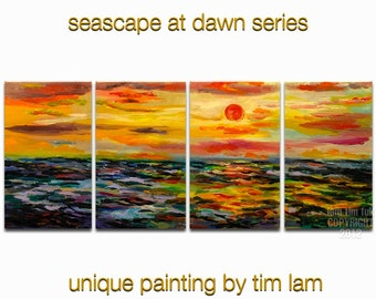 Art paintings, abstract Ocean Sunrise painting, original modern home art deco, Color Sky Vivid Sea Wave acrylic painting by Tim lam 80x30x1