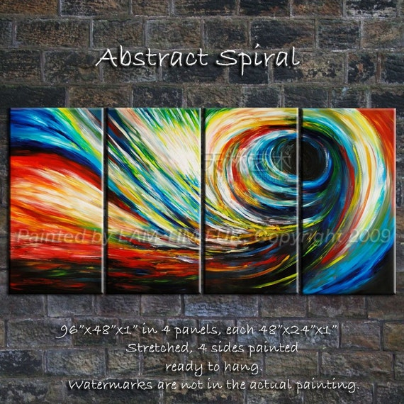 Abstract spiral original huge mural painting 72x48 by elseart for Abstract mural painting