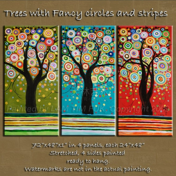 Fanncy Trees with Circles and stripes, Original acrylic Painting 72x48