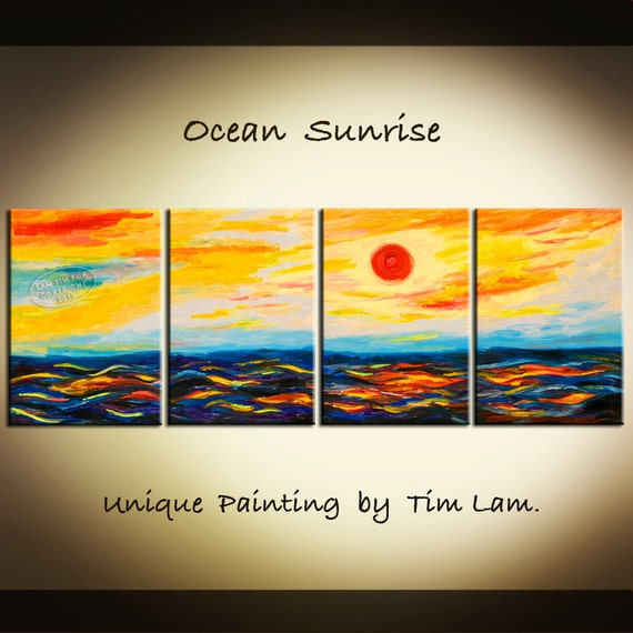Seascape Sunset, Huge Abstract Contemporary Oil Painting 84x30