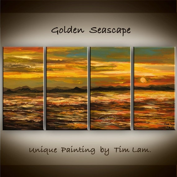 Golden SEA,  Abstract Contemporary Huge Original acrylic Seascape Painting 63x30 Nature decor Fine art