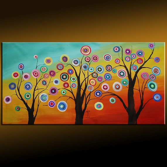 Fancy Circles With Sunrise Trees Abstract Painting 48x24x1