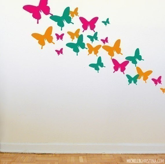 Items similar to butterfly wall decals wd1073 on etsy for Butterfly wall mural