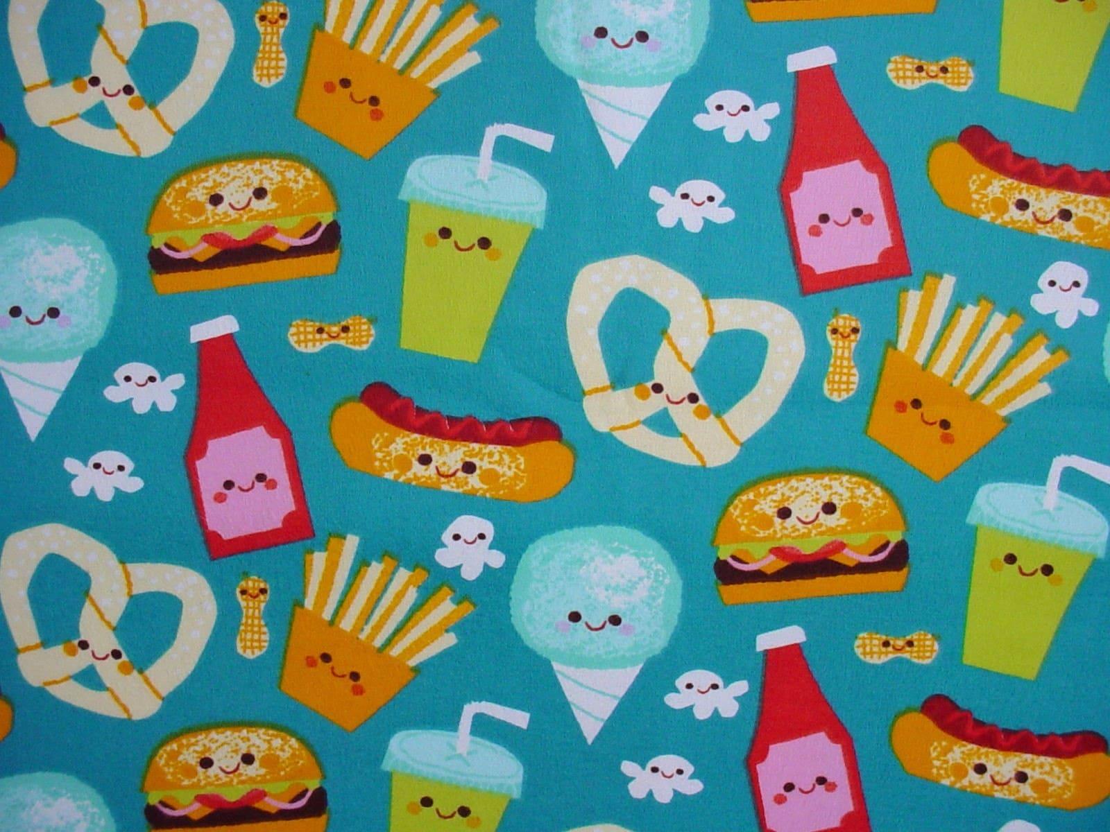 junk food cute cotton flannel fabric kawaii htf. Black Bedroom Furniture Sets. Home Design Ideas