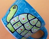 Funky Folk Art Pottery My TURTLE love Time for COFFEE or TEA muggie MUG too CUTE