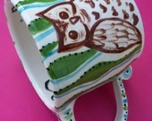 Funky Folk Art Pottery Its OWL time for COFFEE and TEA for ME me LOVE owls with STRIPES babycakes
