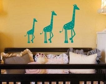 Wall decal My Safari 3 Giraffes