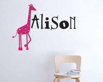 VInyl Decal Giraffe and Name New Design