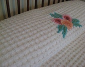 Vintage Chenille Bedspread - Thick and Plush- Flowers and Swags - Full or Queen Blanket - Warm Blanket