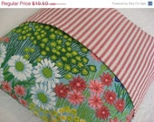 50% OFF CLEARANCE SALE - Sale - Happy Pillow Cover - Cheerful Springtime with Butterfly and Flowers - Red Ticking - 16 Inch