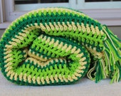 Sale - Crocheted Afghan -  Mixed Multi Stripe with Fringe - Vintage Design - Greens and Yellow - Spring Green