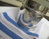 Vintage Foley Flour Sifter and Blue Nubby Linen Kitchen Towel