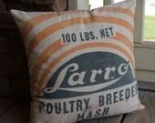 Orange and Blue Vintage Feedsack Pillow - Larro Poultry Breeder - Orange - Blue