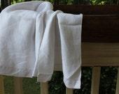 Vintage White Huck Linen Damask Towel
