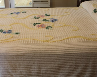 Vintage Chenille Bedspread - Colorful Flowers on Creamy White - New - Full or Queen Coverlet - Sears