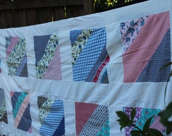 Vintage Flour Sack Quilt Top - Colorful and Beautiful