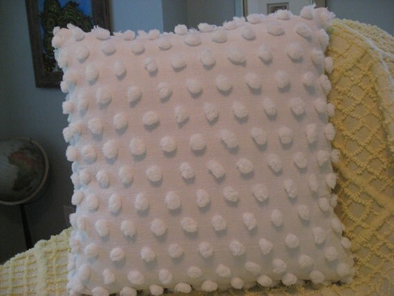 Vintage Chenille Pillow - Giant Pops - White on White - Cabin Crafts